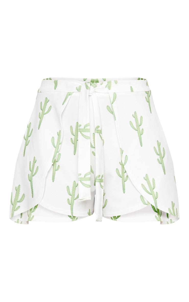 White Cactus Print Tie Waist Short 3