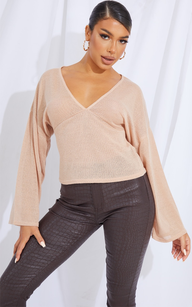Stone Woven V Front Floaty Sleeve Blouse 1