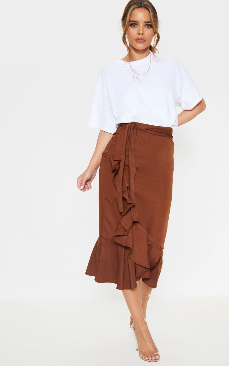 Petite Chocolate Brown Woven Frill Detail Midi Skirt 1