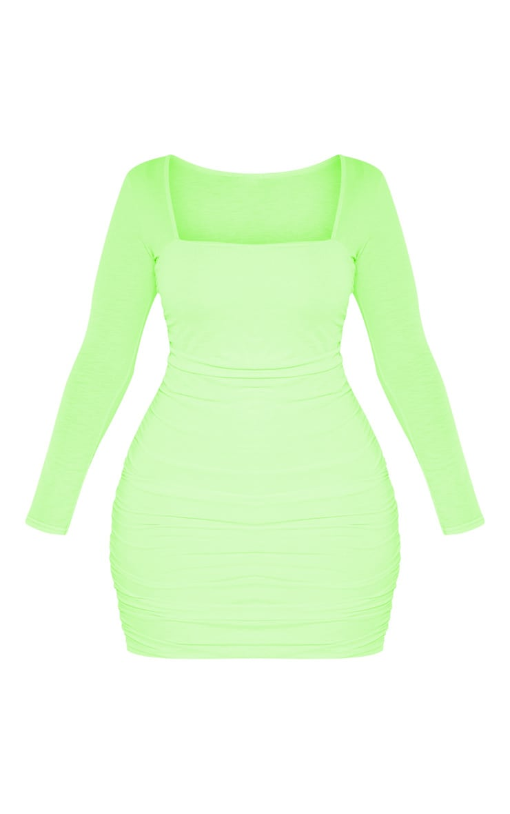 Shape Neon Lime Ruched Square Neck Bodycon Dress 3