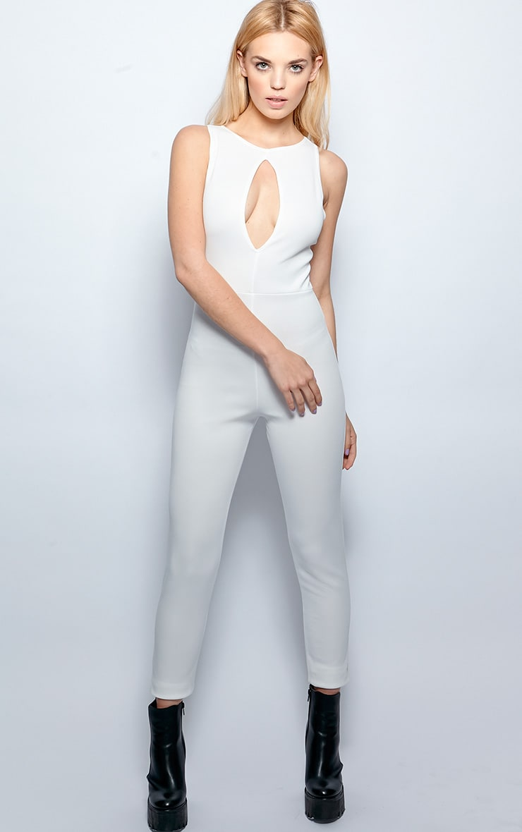 Stephanie White Cut Out Jumpsuit 3