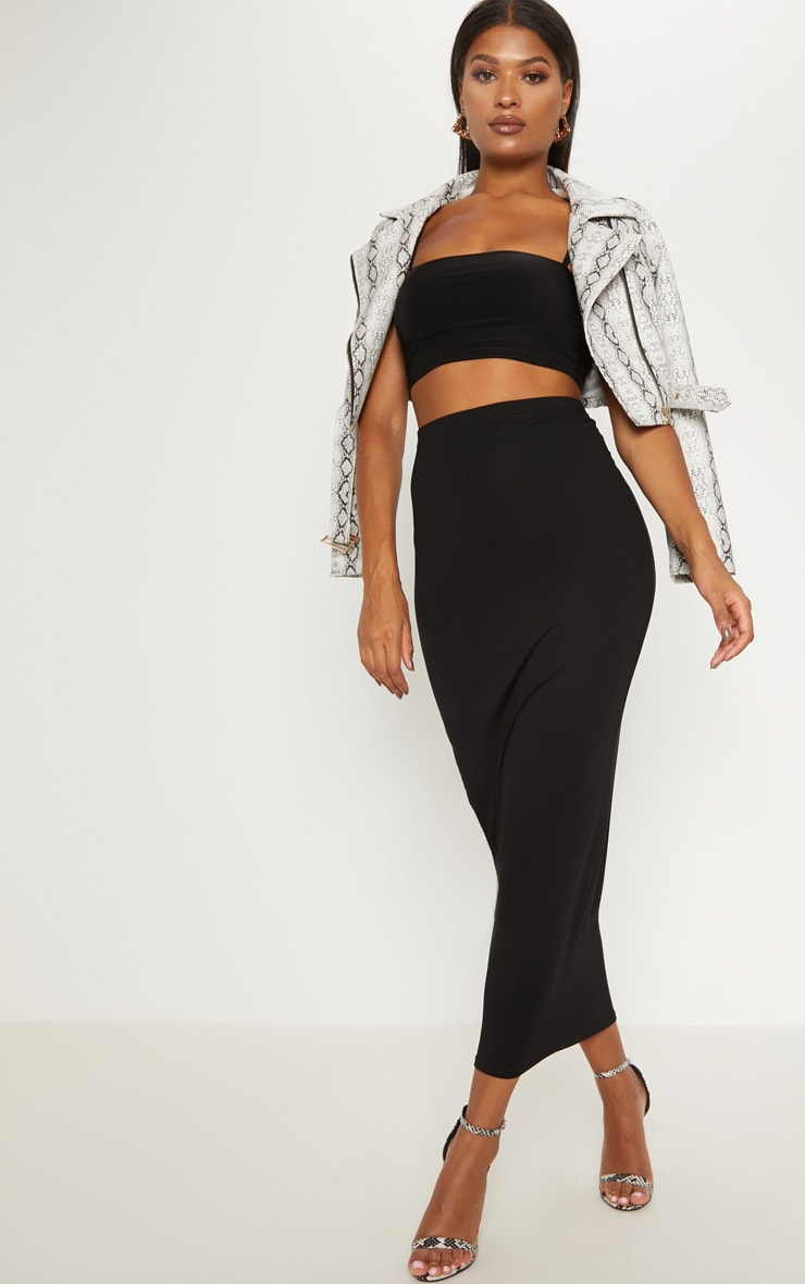 Black Basic Maxi Skirt 1