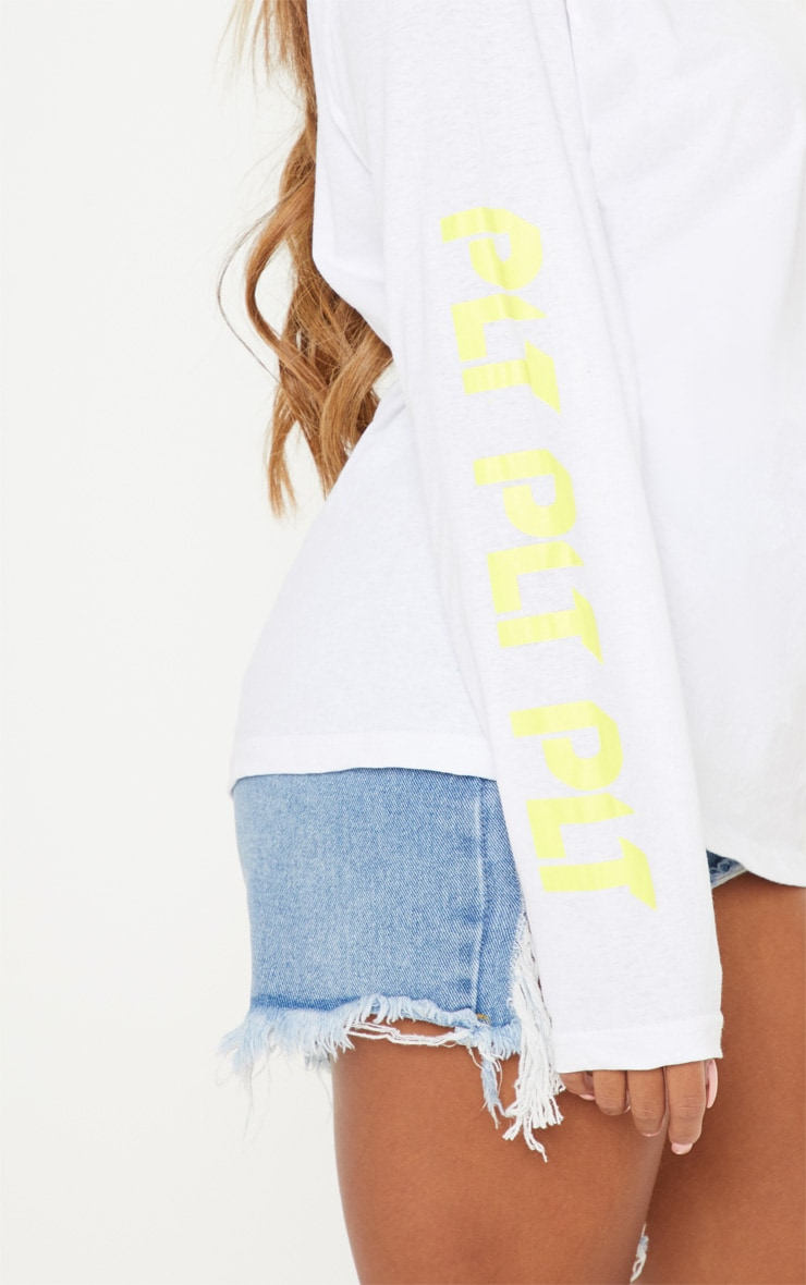 PRETTYLITTLETHING White Printed Long Sleeve T shirt 5