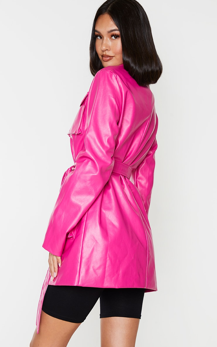 Hot Pink PU Longline Pocket Front Jacket 2