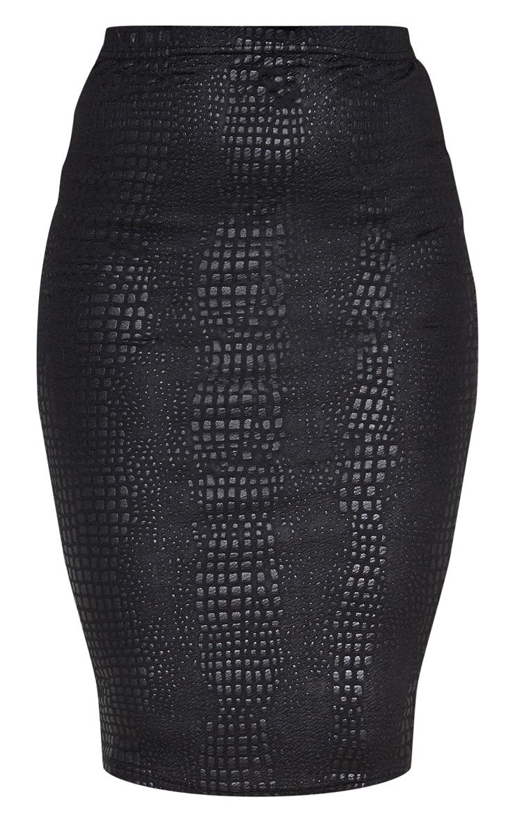 Black Croc Print Midi Skirt  3