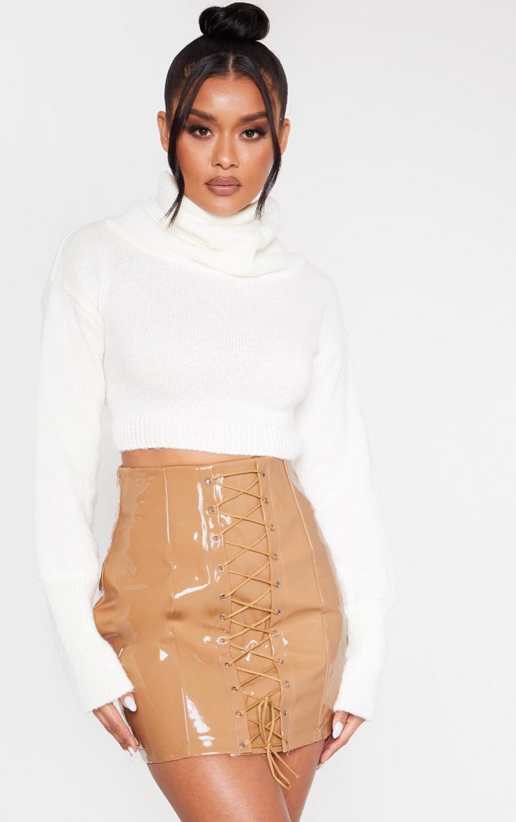 Camel Vinyl Lace Up Mini Skirt 1