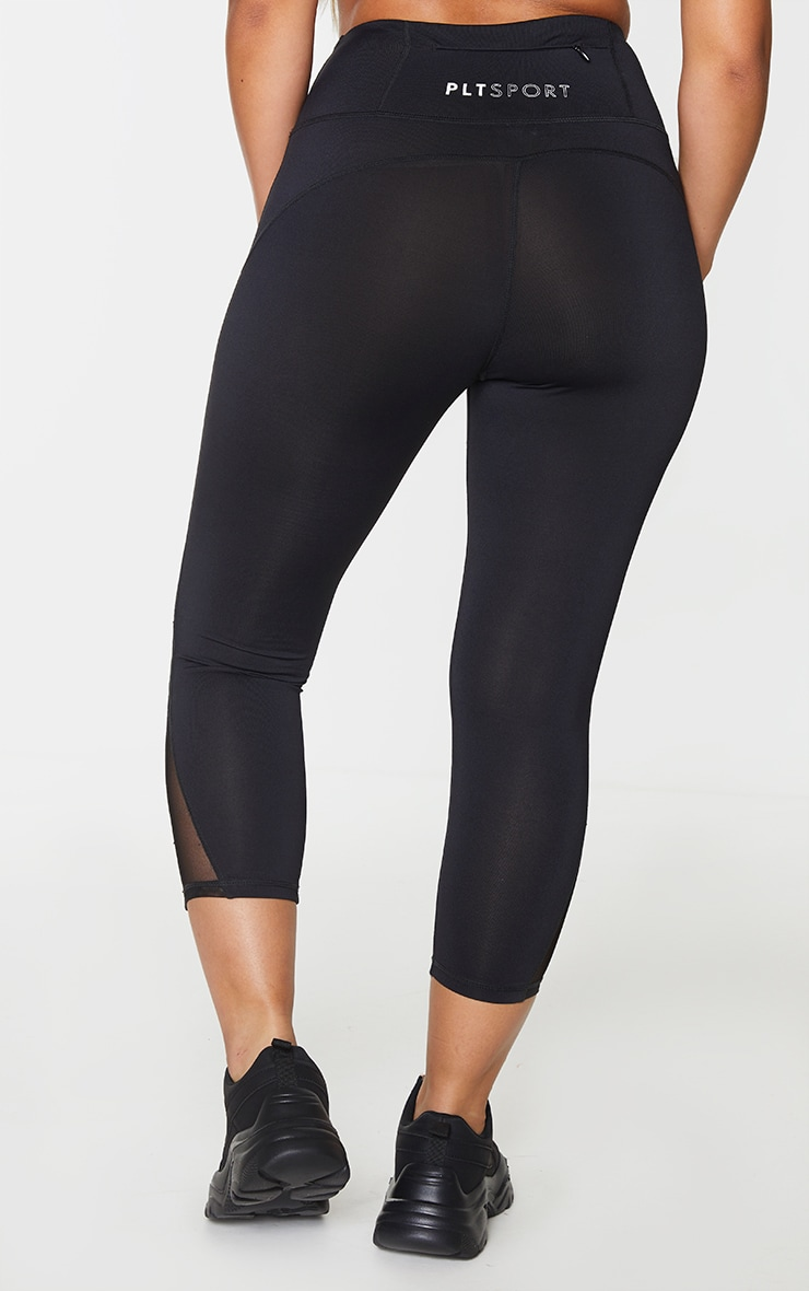 PRETTYLITTLETHING Black Sport Mesh Cropped Legging 3