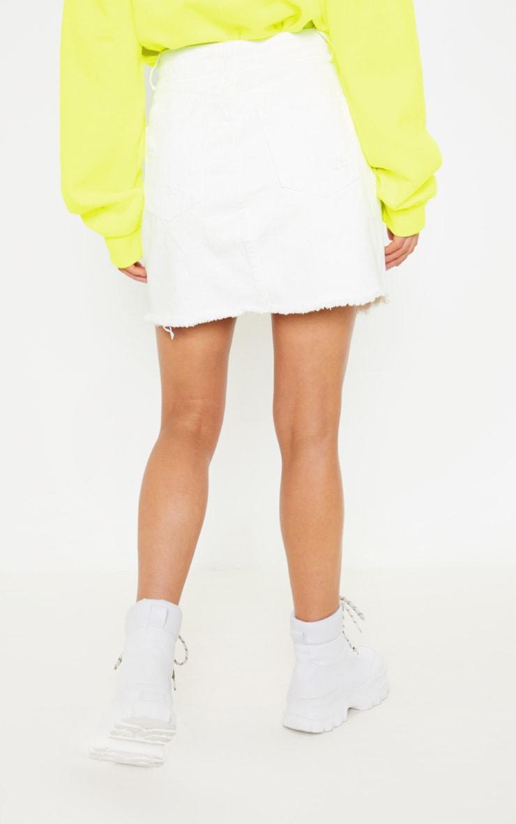 White Distressed Midi Skirt  4