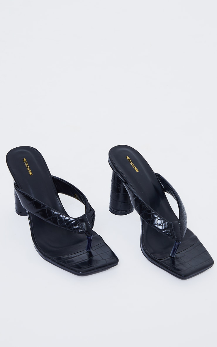 Black Wide Fit PU Toe Thong Square Toe Circle High Heel Mules 3