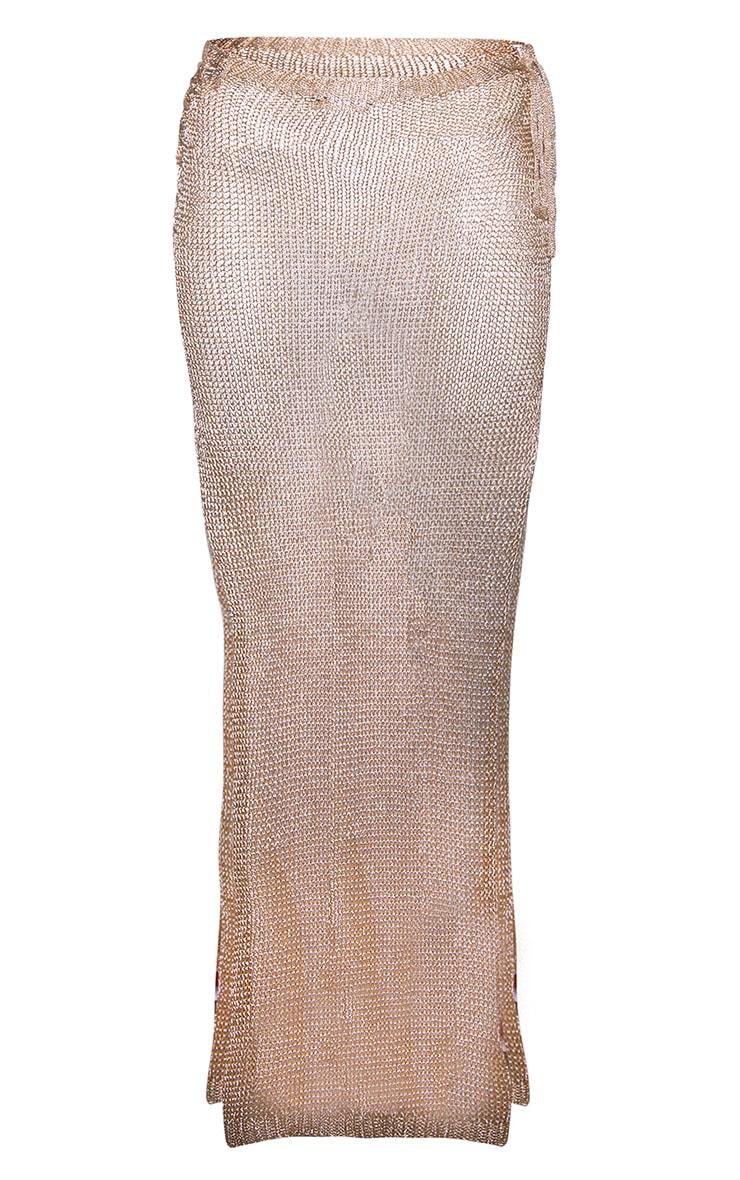 Rose Gold Metallic Knitted Maxi Skirt 3