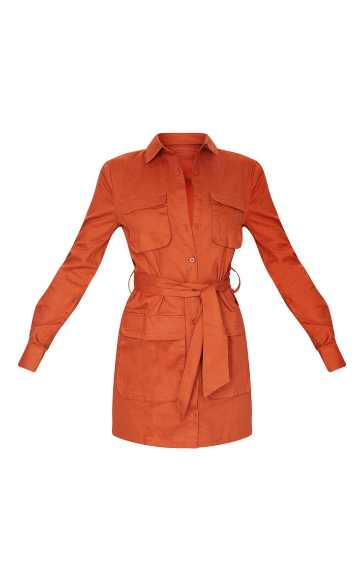 Terracotta Utility Tie Waist Shirt Dress 5
