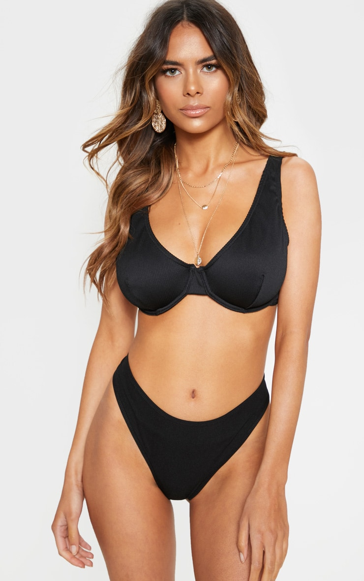 Black Fuller Bust Ribbed Underwired High Apex Bikini Top 2