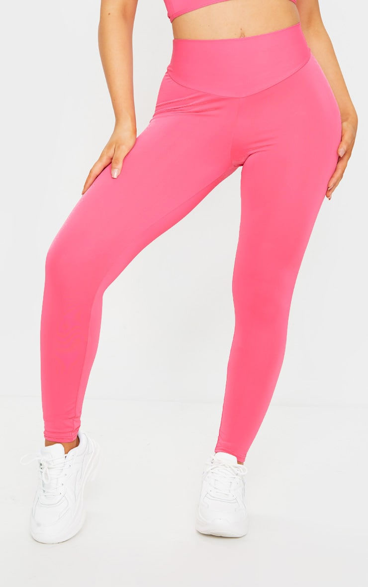 PRETTYLITTLETHING Hot Pink Sport High Waisted Gym Leggings 2