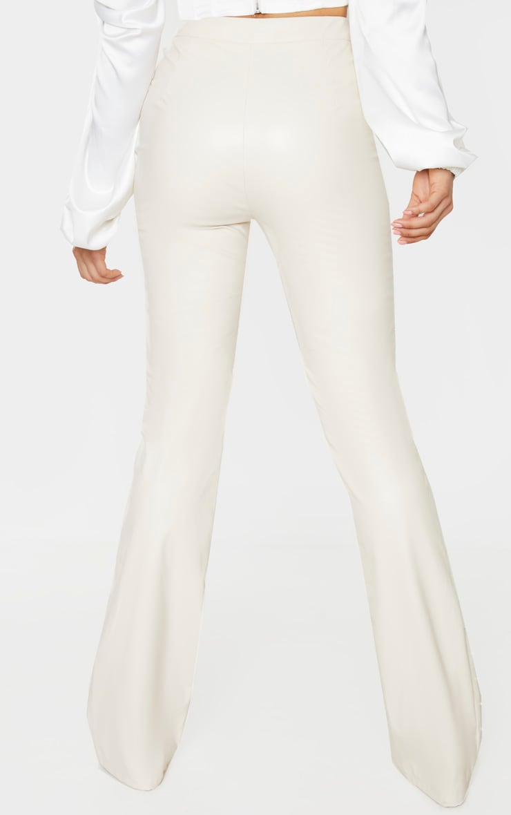 Tall Cream Beaded Side PU Flared Pants 4