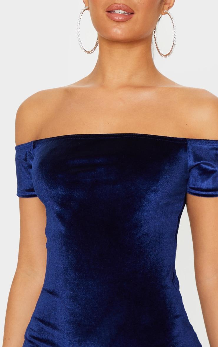 Navy Velvet Bardot Short Sleeve Bodycon Dress 5