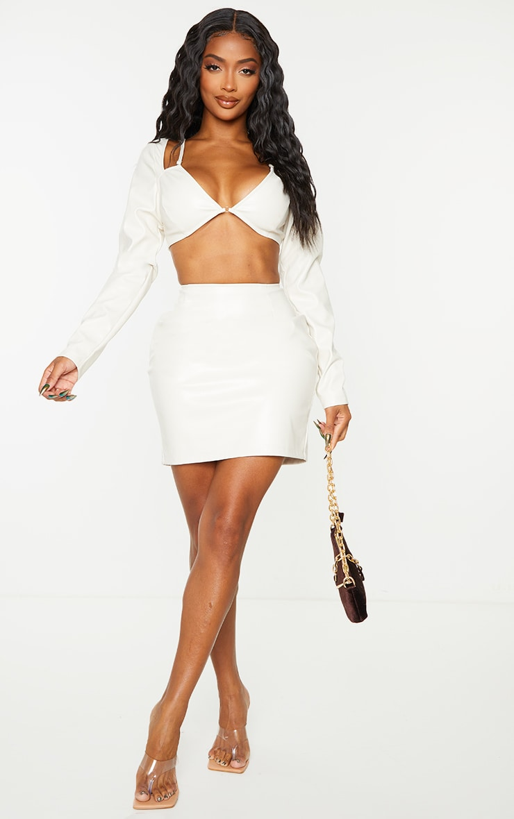 Shape Cream Faux Leather Ring Detail Cut Out Crop Top 3