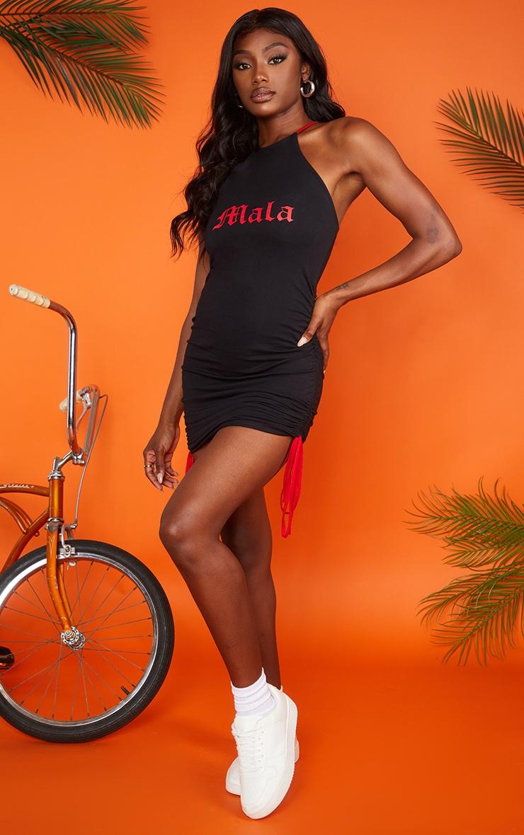 Black Ruched Mala Bodycon Dress 3