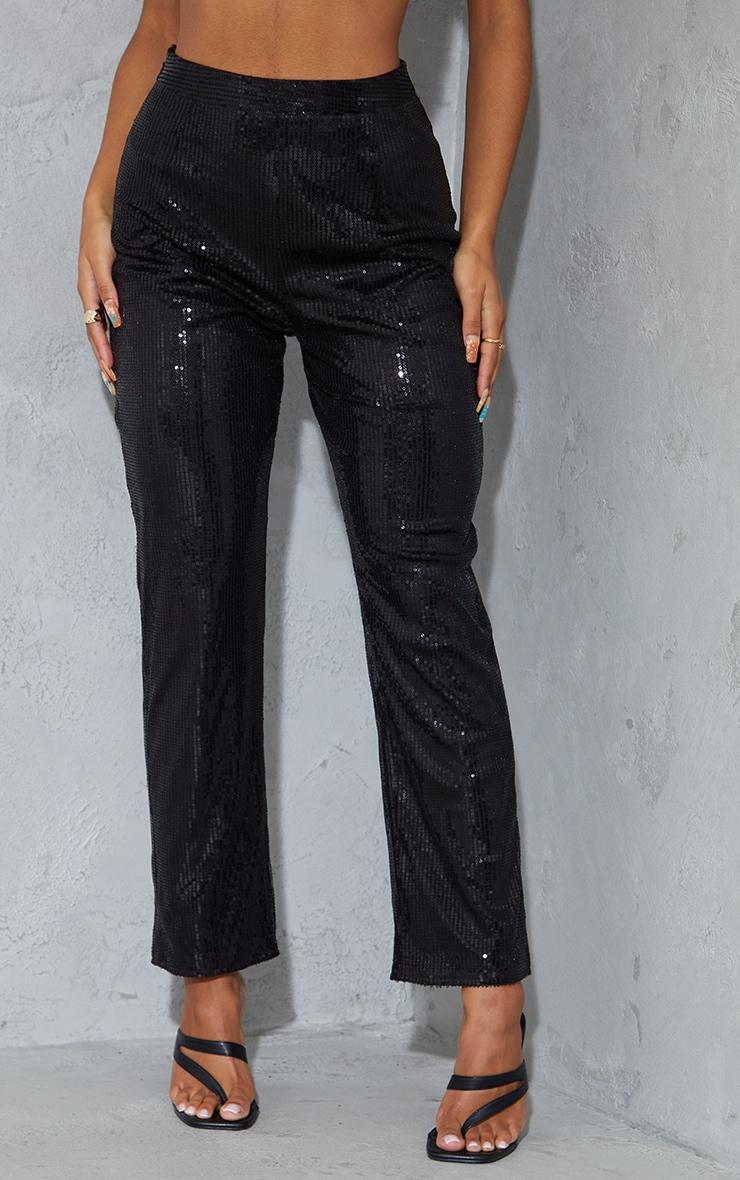 Black Sequin High Waisted Straight Leg Pants 2