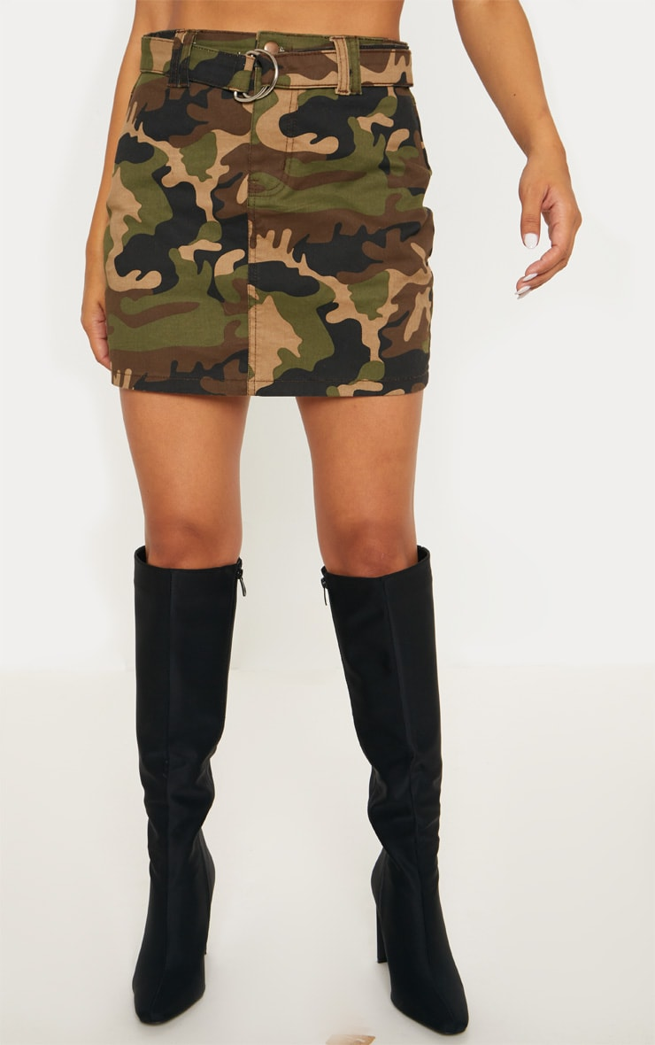 Camo O-Ring Belted Denim Skirt  2