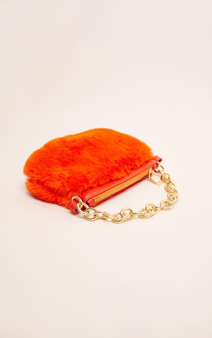 Orange Faux Fur Handbag 2