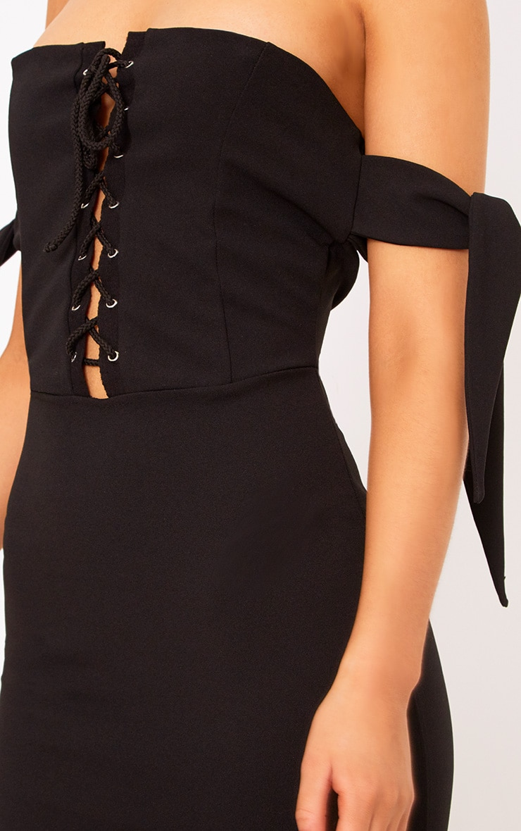 Black Tie Sleeve Corset Bodycon Dress 5