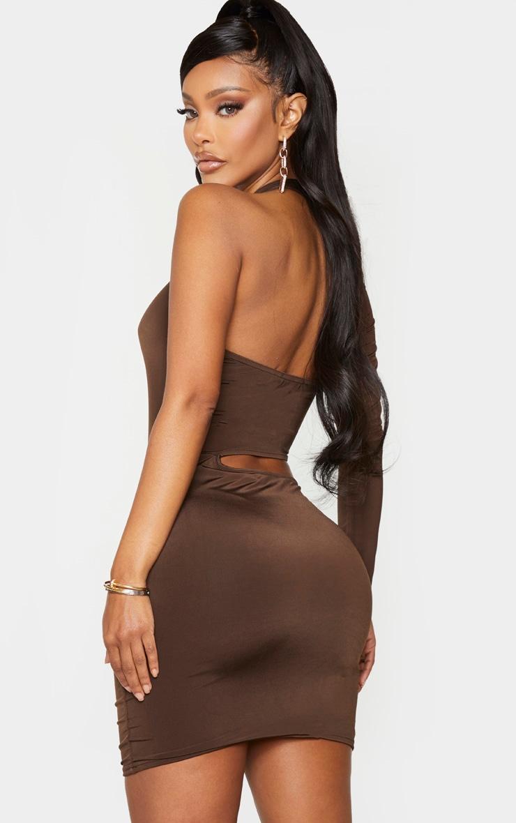 Shape Chocolate Brown Slinky Cut Out One Sleeve Bodycon Dress 2