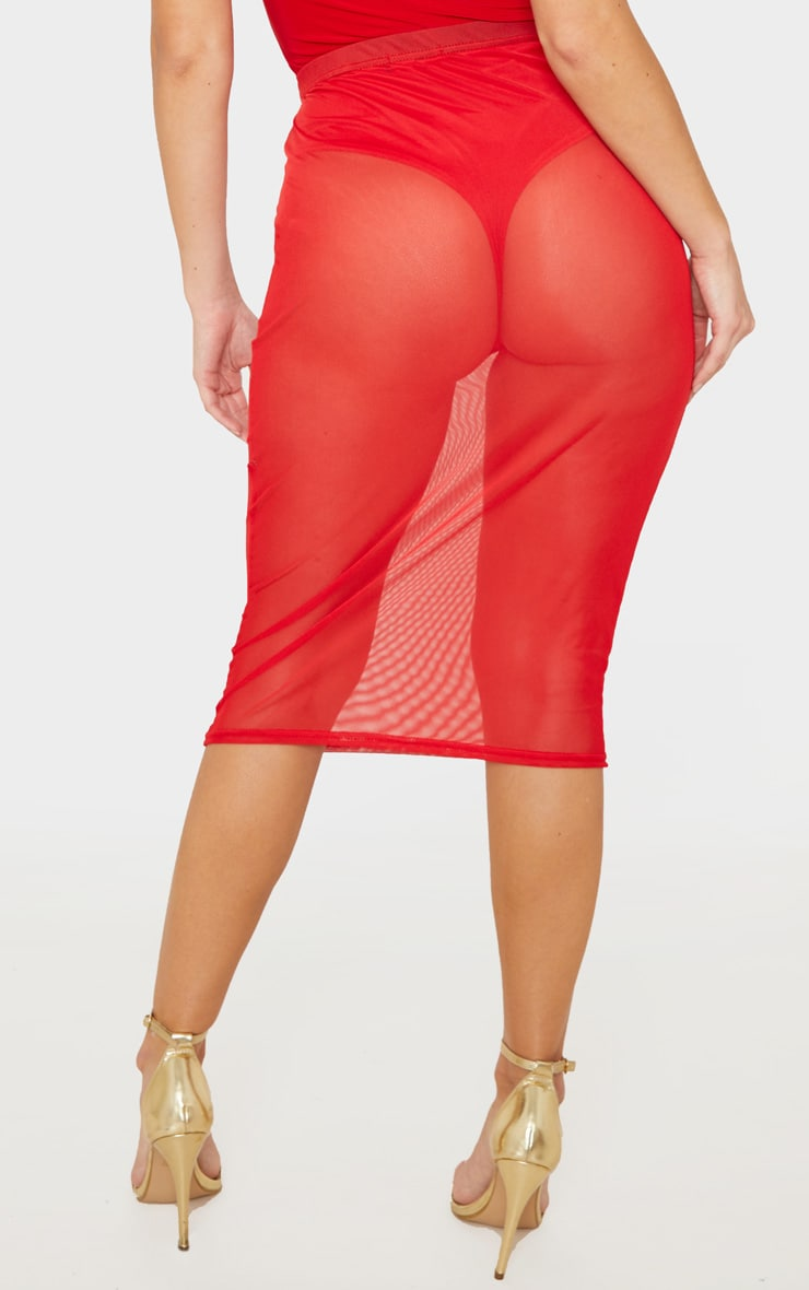 Red Mesh Basic Midi Skirt 5