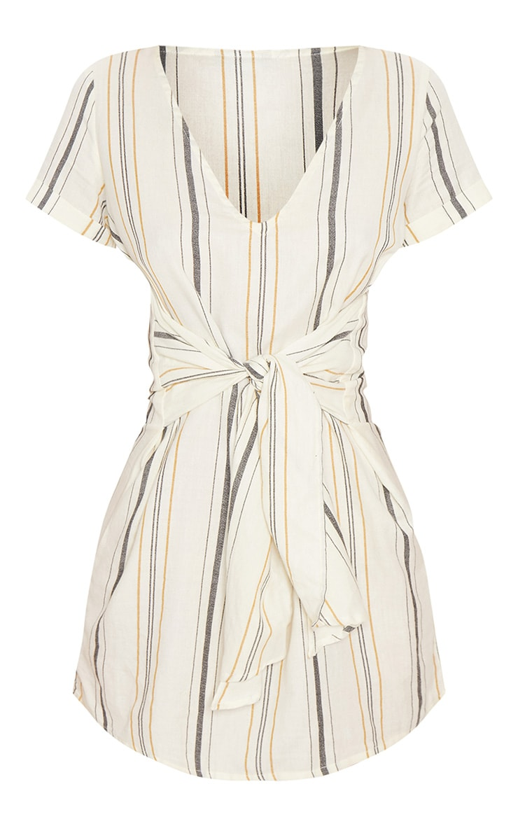 Cream Stripe Print Tie Detail Shift Dress 4