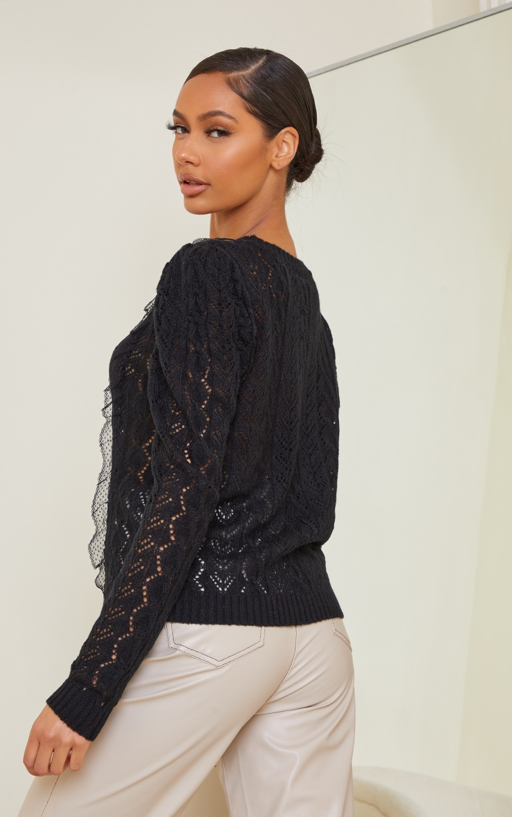 Black All Over Pointelle Knitted Sweater 2