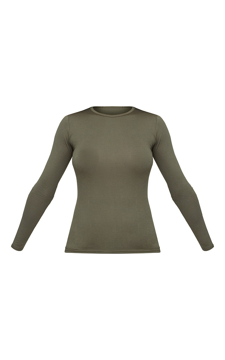 Basic Khaki Longsleeve Fitted T Shirt  2