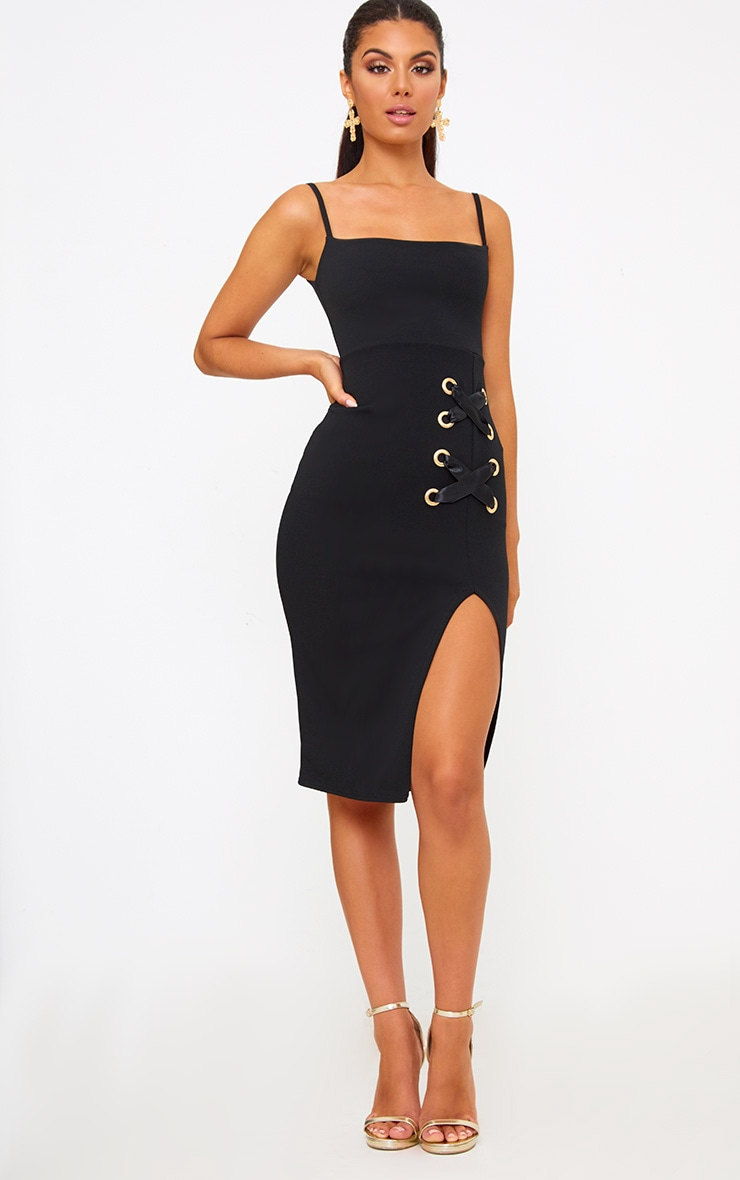 Black Eyelet Satin Lace Up Detail Midi Dress 4