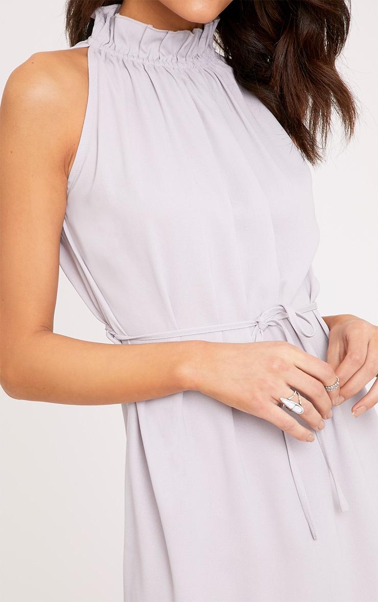 Liza Ice Grey Frill Neck Swing Dress 5