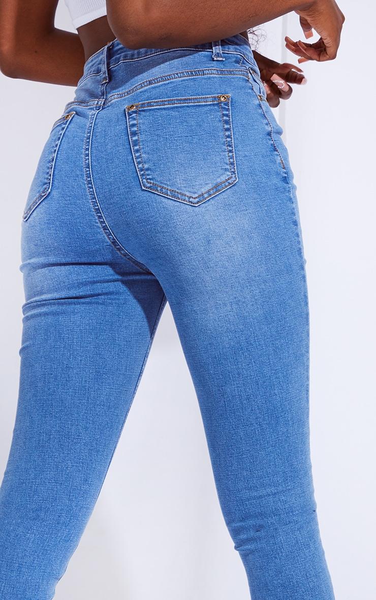 Tall Mid Blue Split Front Skinny Jeans 4