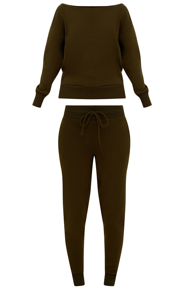 Khaki Jogger Jumper Knitted Lounge Set 3