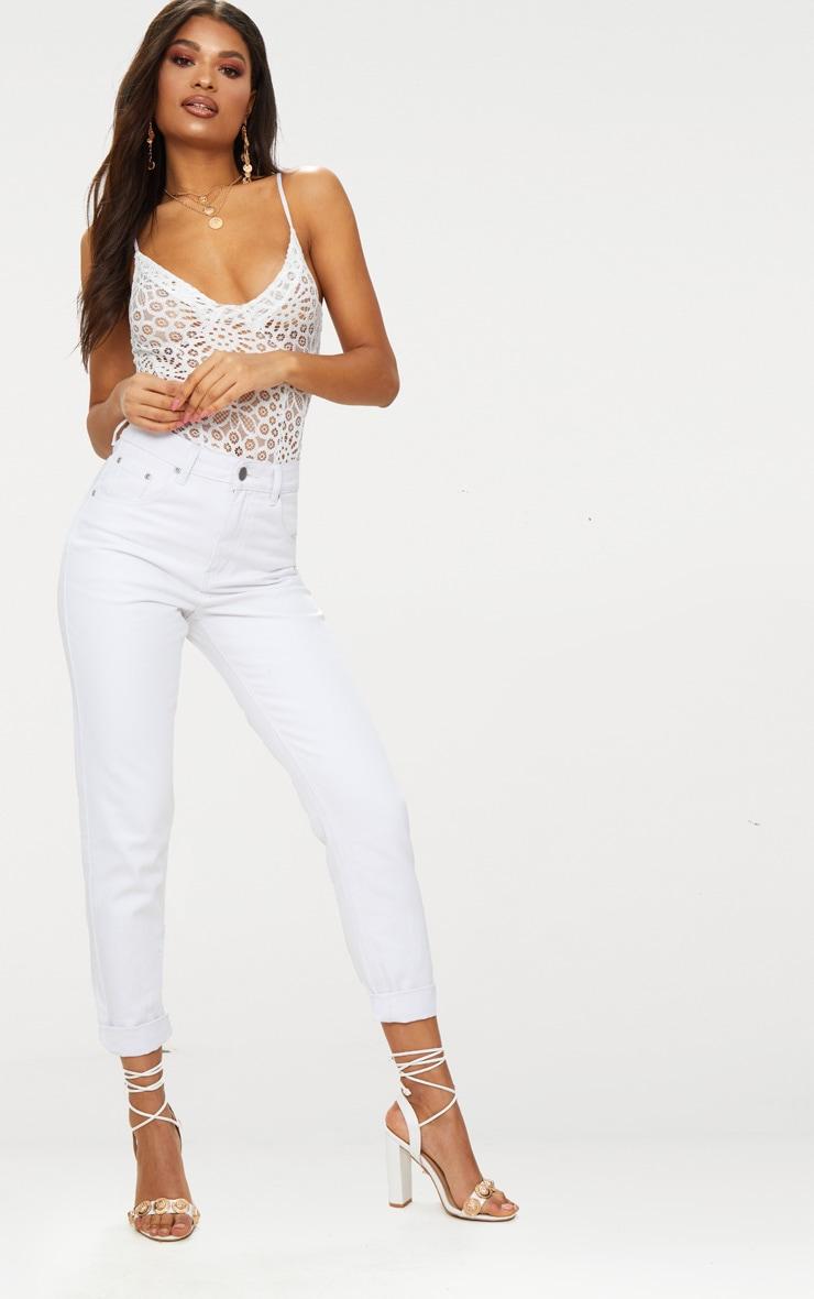 White Crochet Lace Cup Thong Bodysuit 3