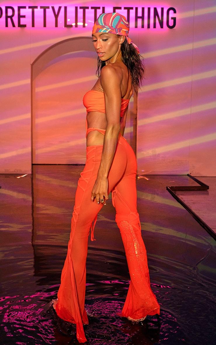 Orange Wrap Mesh Beach Pants 2