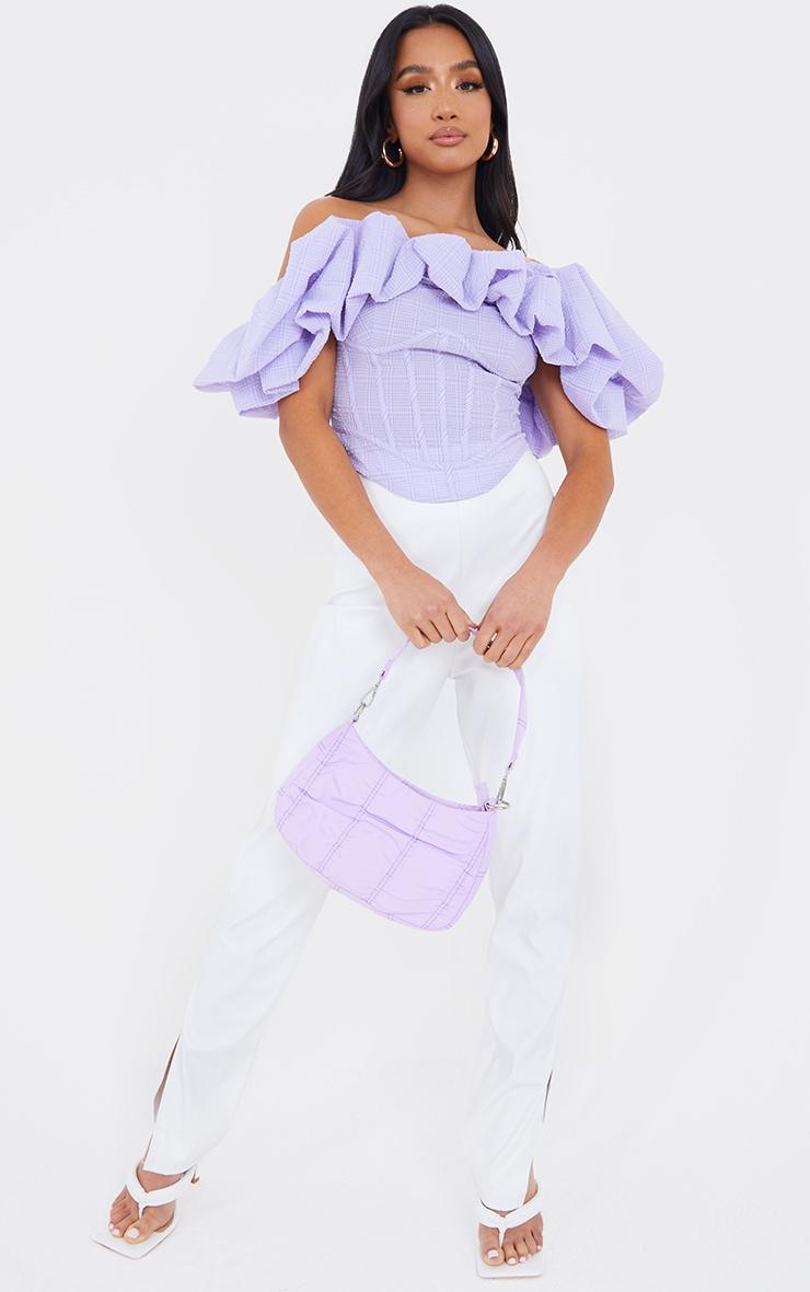 Petite Lilac Oversized Ruffle Cropped Blouse 3