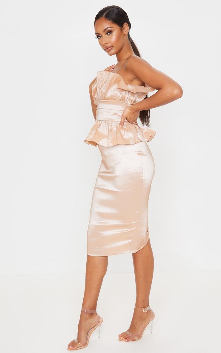 Champagne Bandeau Frill Detail Midi Dress 4