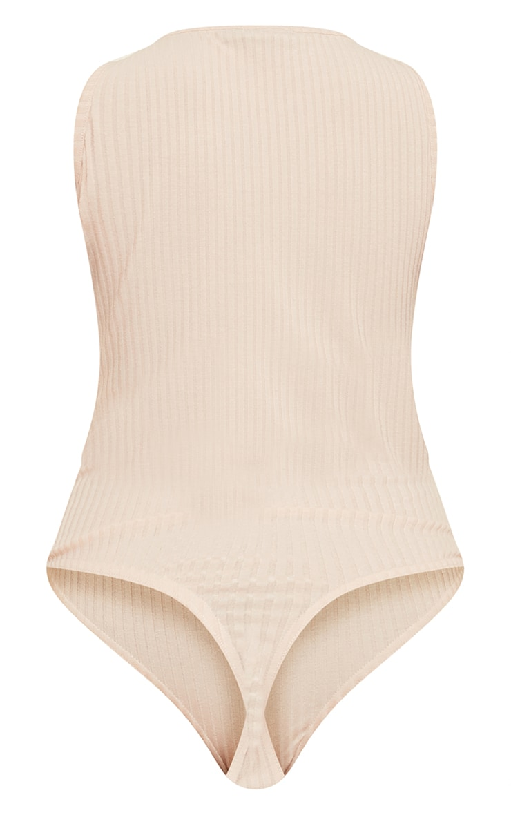 Beige Wide Rib Sleeveless Bodysuit 6