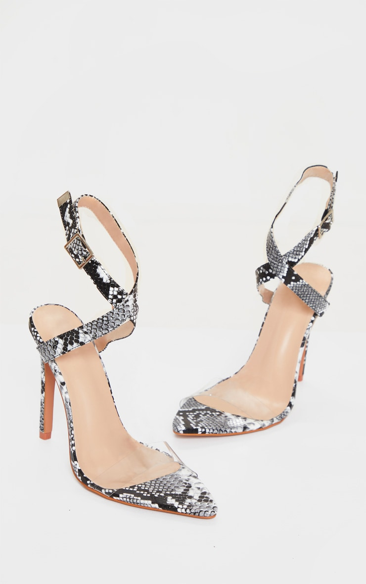 Snake Print Wide Fit Point Toe Clear Ankle Strap Sandals 3
