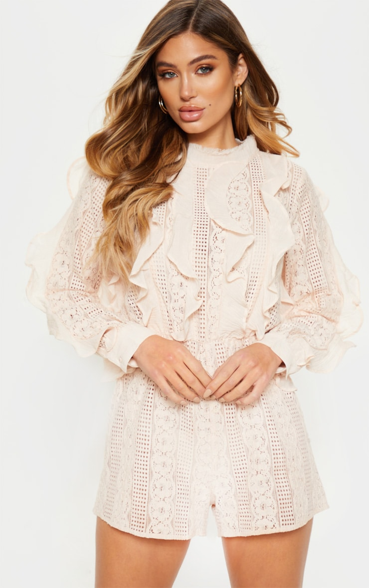 Dusty Pink Lace Frill Detail Long Sleeve Playsuit 1