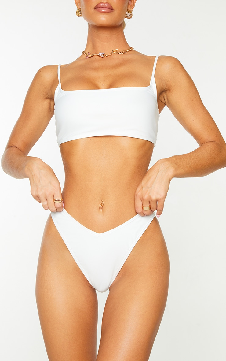 White Mix & Match Recycled Fabric V Front Bikini Bottoms 1