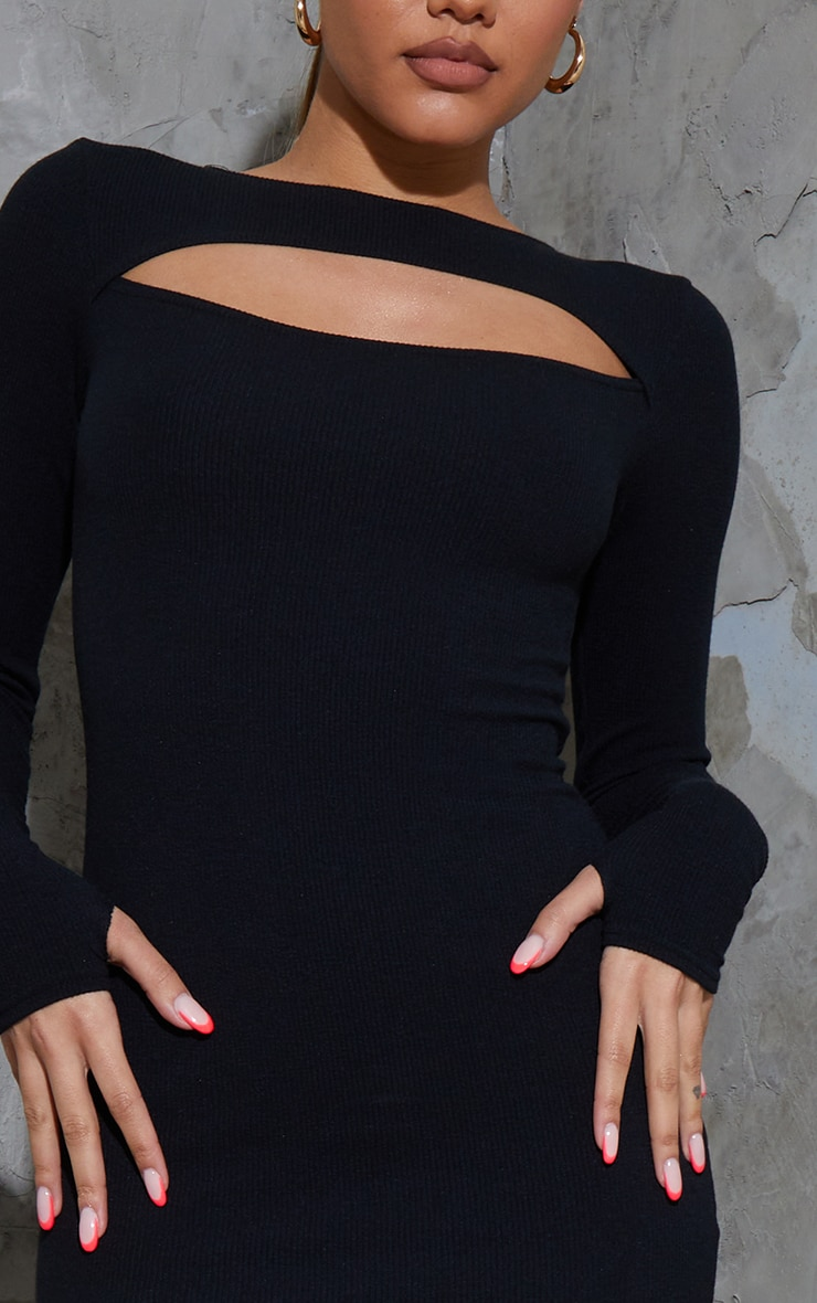 Black Ribbed Long Sleeve Cut Out Thumb Hole Bodycon Dress 4
