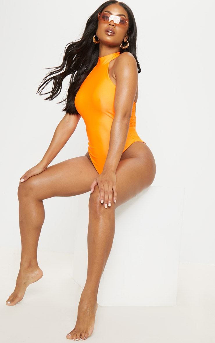 Shape Neon Orange High Neck Swimsuit 4