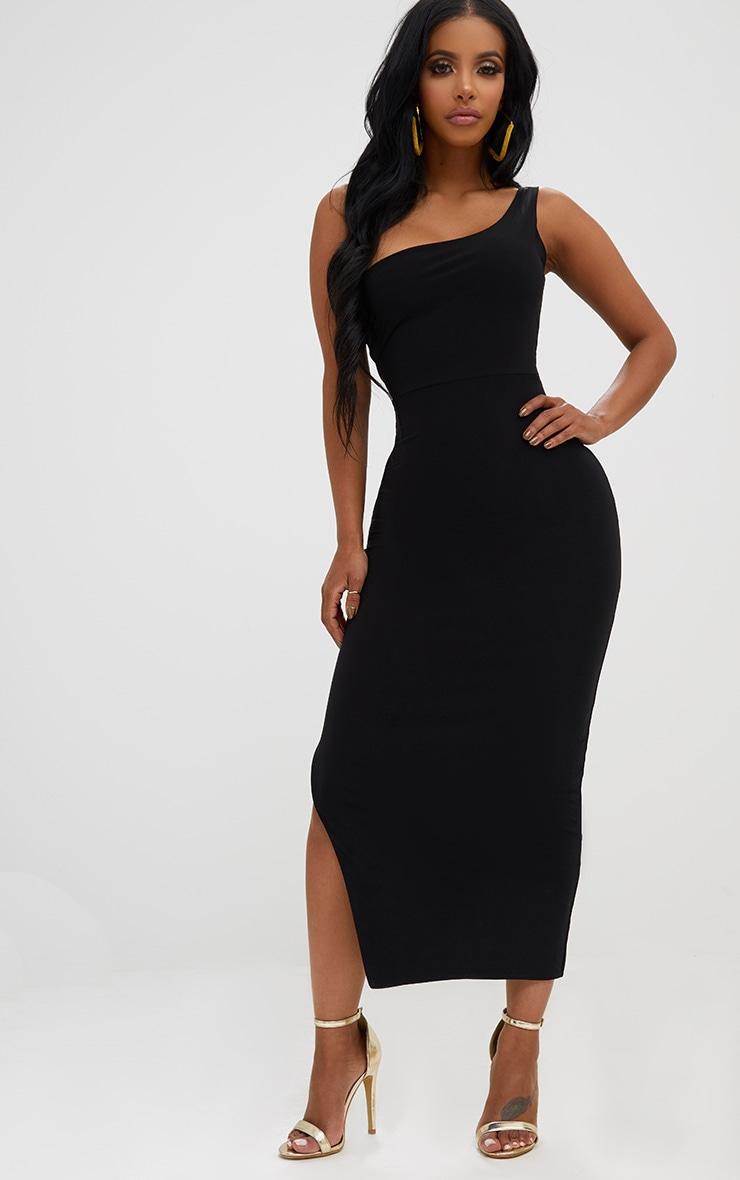 Shape Black One Shoulder Slinky Midaxi Dress 1