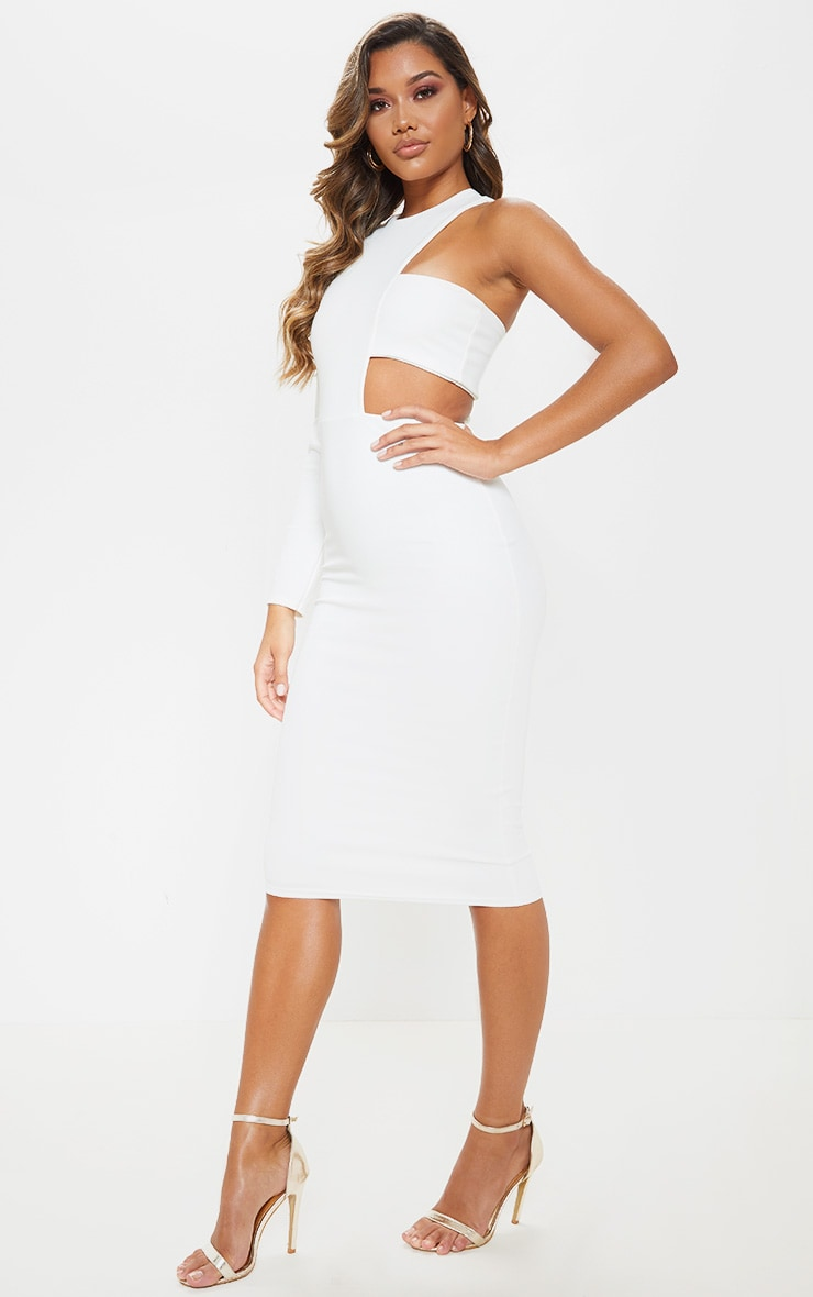 Robe mi-longue blanche à bretelle unique 1