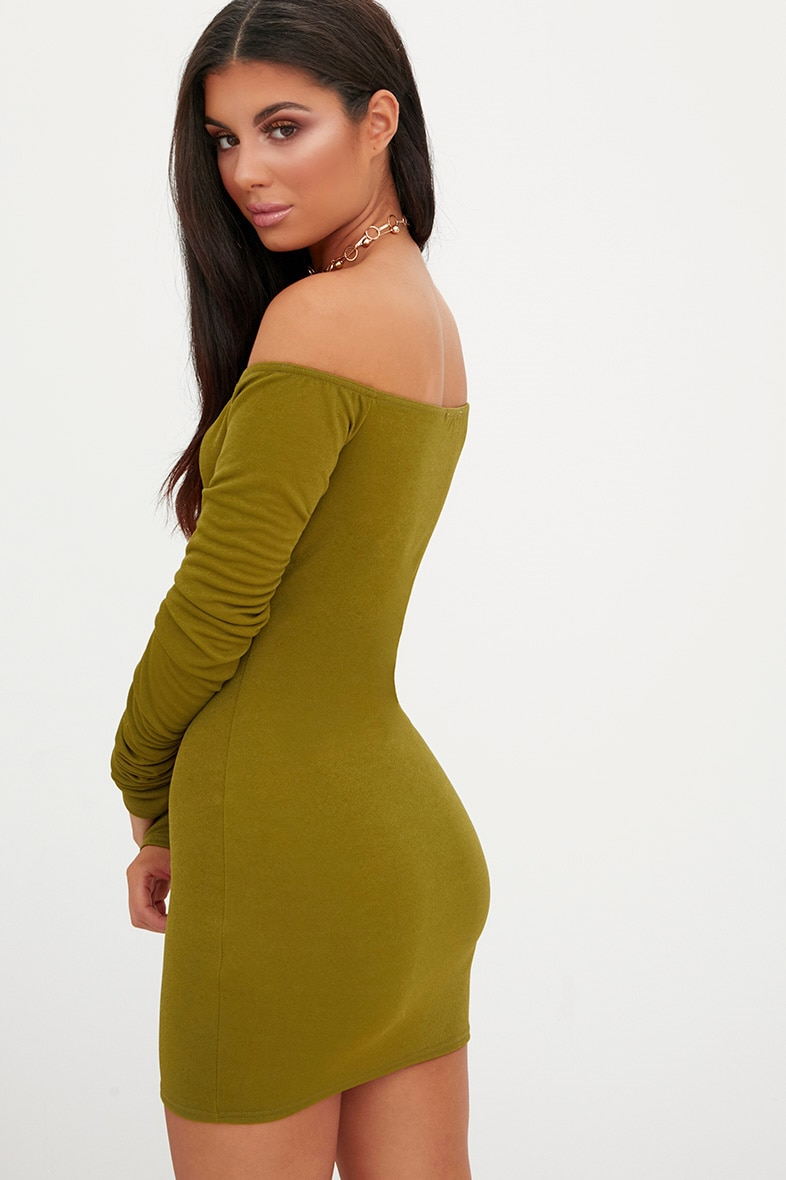 Olive Green Ruched Arm Bardot Bodycon Dress 2