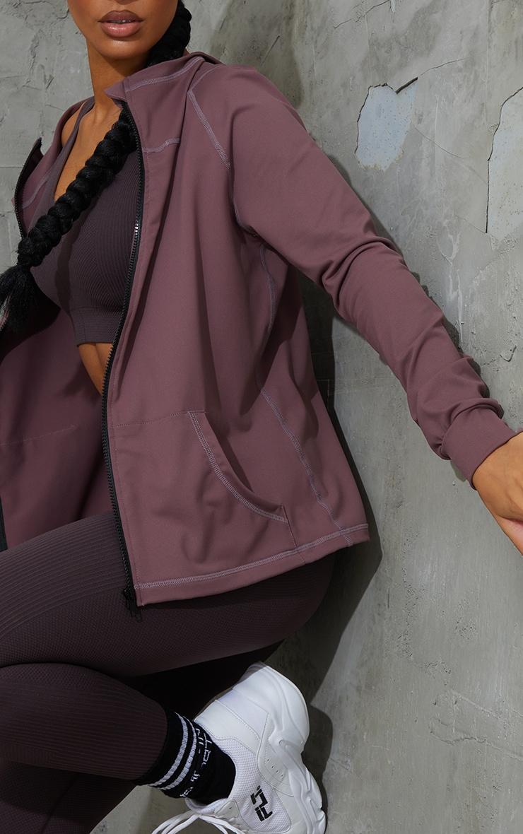 Brown Zip Through Hooded Gym Top 4