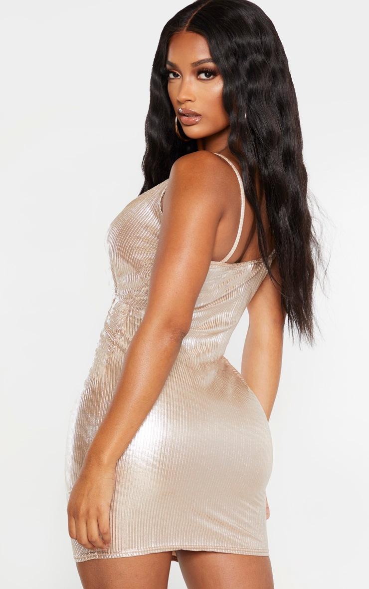Shape Gold Plisse Drape Dress 2