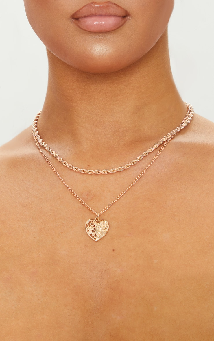 Gold Rope And Heart Charm Layering Necklace 2
